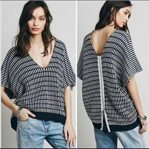 Free People | Navy and White Poncho Sweater